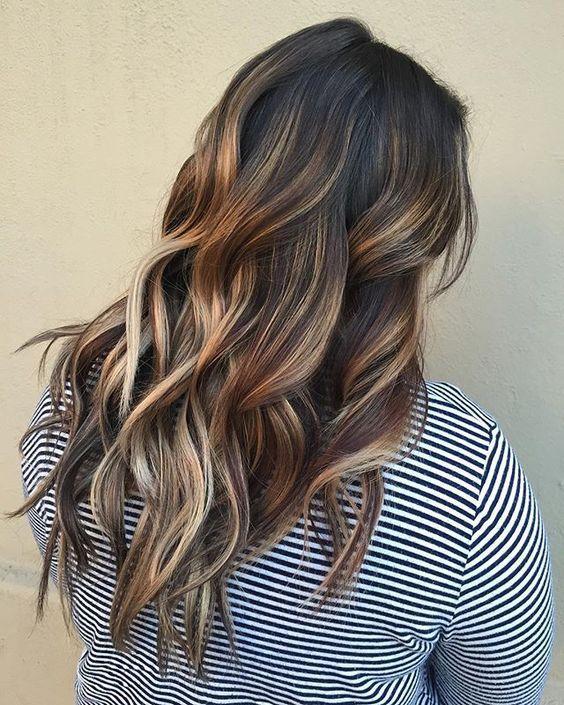 Dark Brown Hair With Honey And Light Brown Highlights Brown Hair With Highlights Hair Highlights Dark Brown Hair