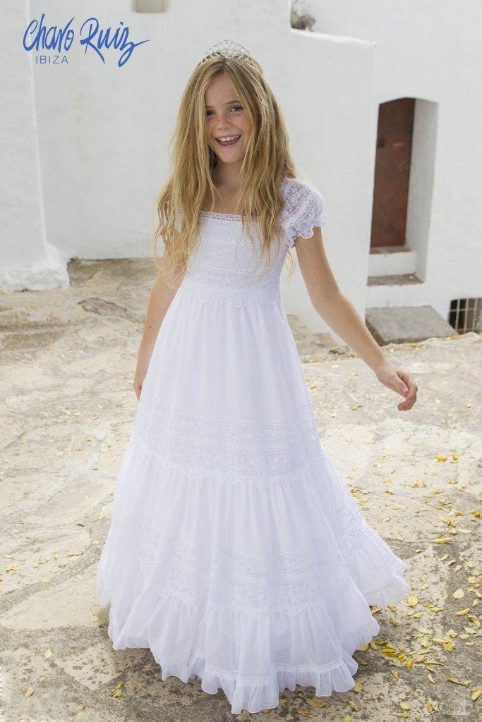 Vestidos blancos ibicencos para ninas