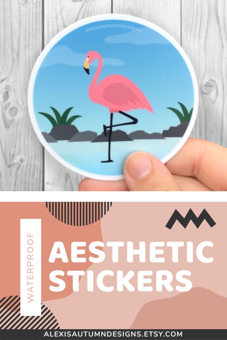 Flamingo Beach Round Sticker 3 Inch Sticker Waterproof Etsy Summer Sticker Vinyl Sticker Fun Stickers [ 1102 x 735 Pixel ]