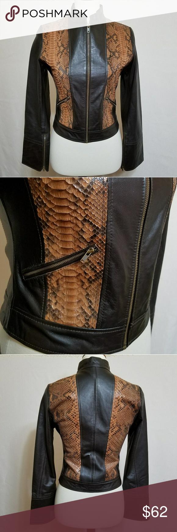 Brown Leather Jacket Python Snakeskin Genuine 4 100