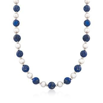 10-10.5mm Lapis and 8-8.5mm Cultured Pearl Necklace With Sterling Silver   #833620 @ ross-simons.com