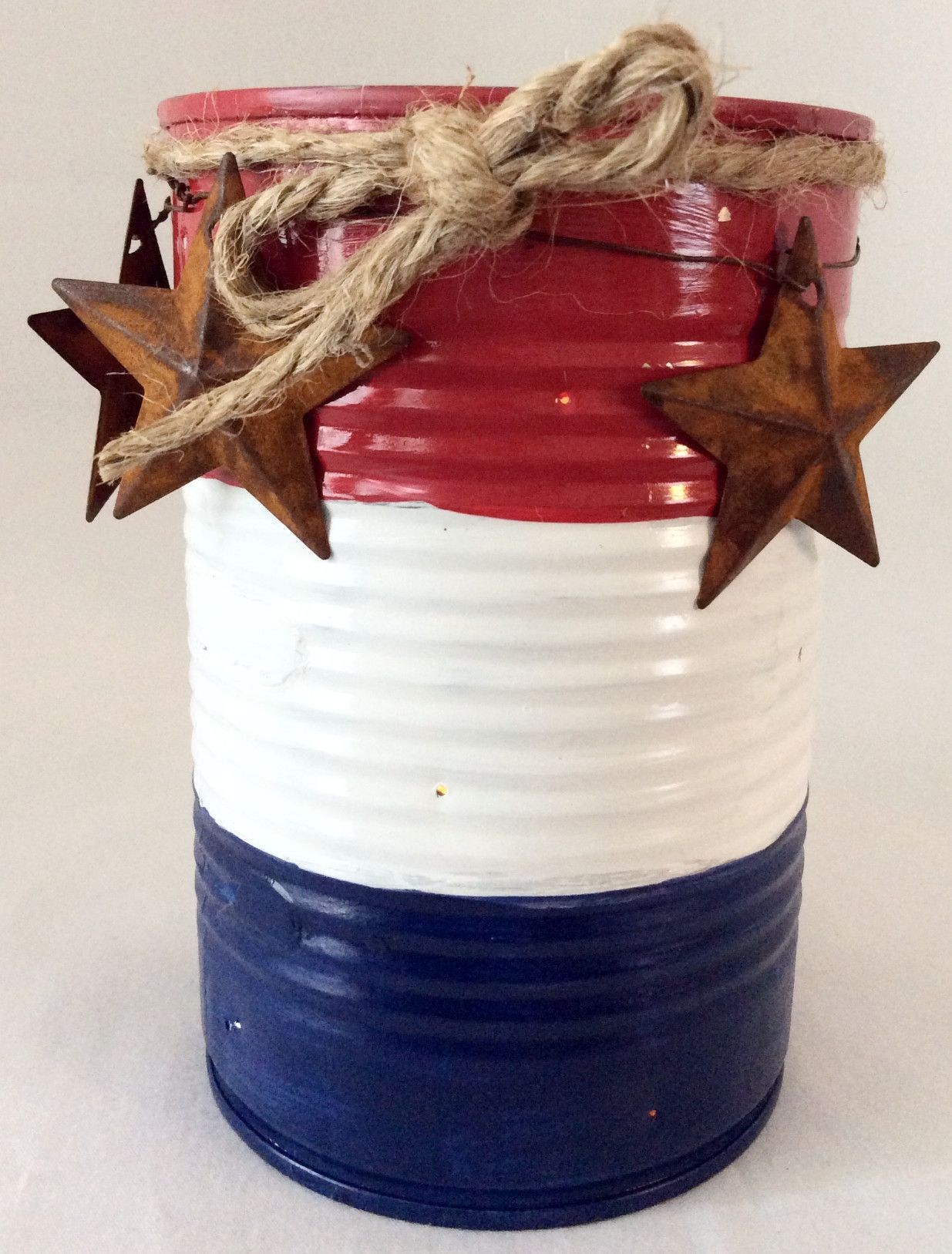 Photo of Tin Can Candle Holder, Americana Primitive Decor, Country Decor, Independence Celebration
