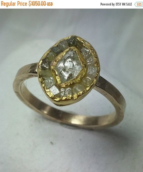 raw diamond ring engagement ring multistone ring by EarthDiamond