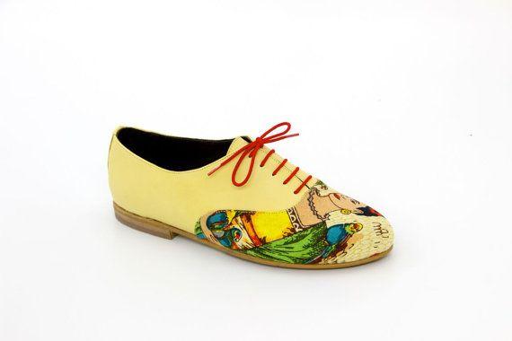 Chaussures Oxford Flats Andy lumière jaune par Inspection5Footwear
