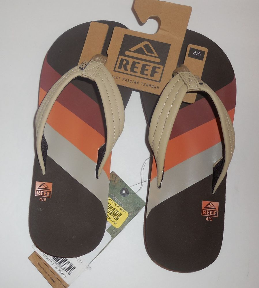 14051cf9a093 REEF Boys Size 4 5 Youth Ahi 70s Flip Flops Sandals Brown 4 5 New  Reef   FlipFlops