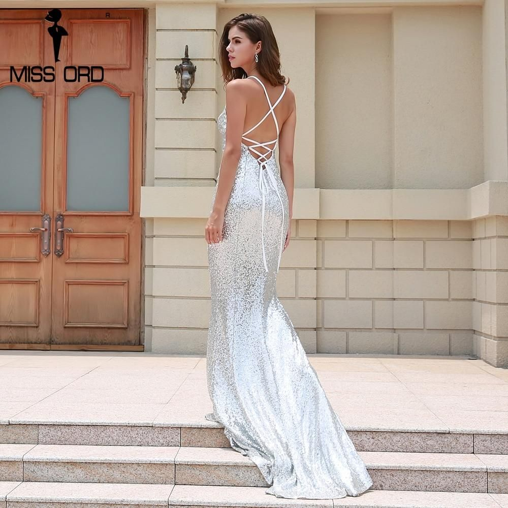 7192520e26a7 Missord 2018 Sexy Off Shoulder Sleeveless Harness Summer Dresses Sequin  Backless Cross Maxi Dress FT8521