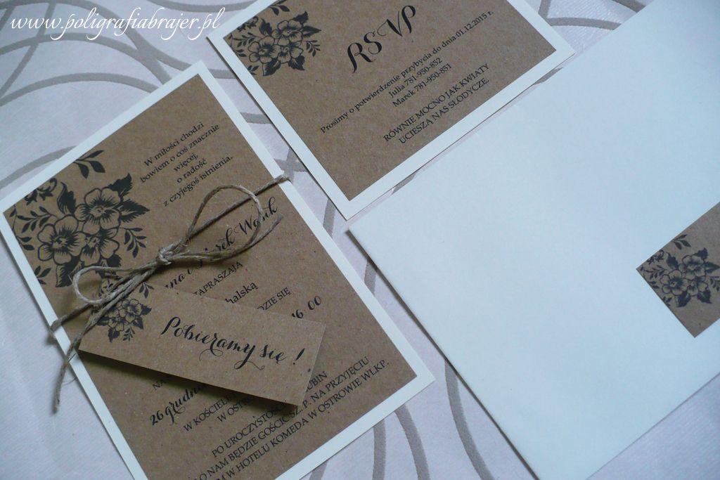 Zaproszenia Slubne Rustykalne Vintage Retro Eko Wedding Invitations