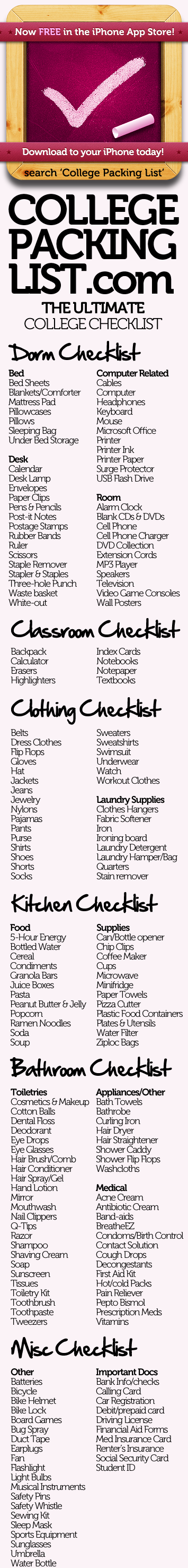 College packing checklist. This interactive list allows you to check off items as you pack them, remove items that don't apply to you, view tips about each item and print your customized packing list.