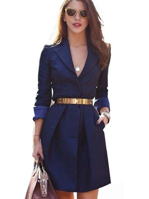 5c99bfef8fa21 Women V Neck Sexy Elegant Dress Navy Blue Office OL Split ...
