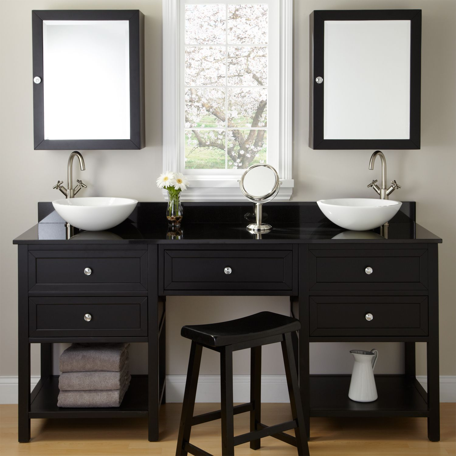 72 Taren Black Double Vanity for Vessel Sinks with Makeup