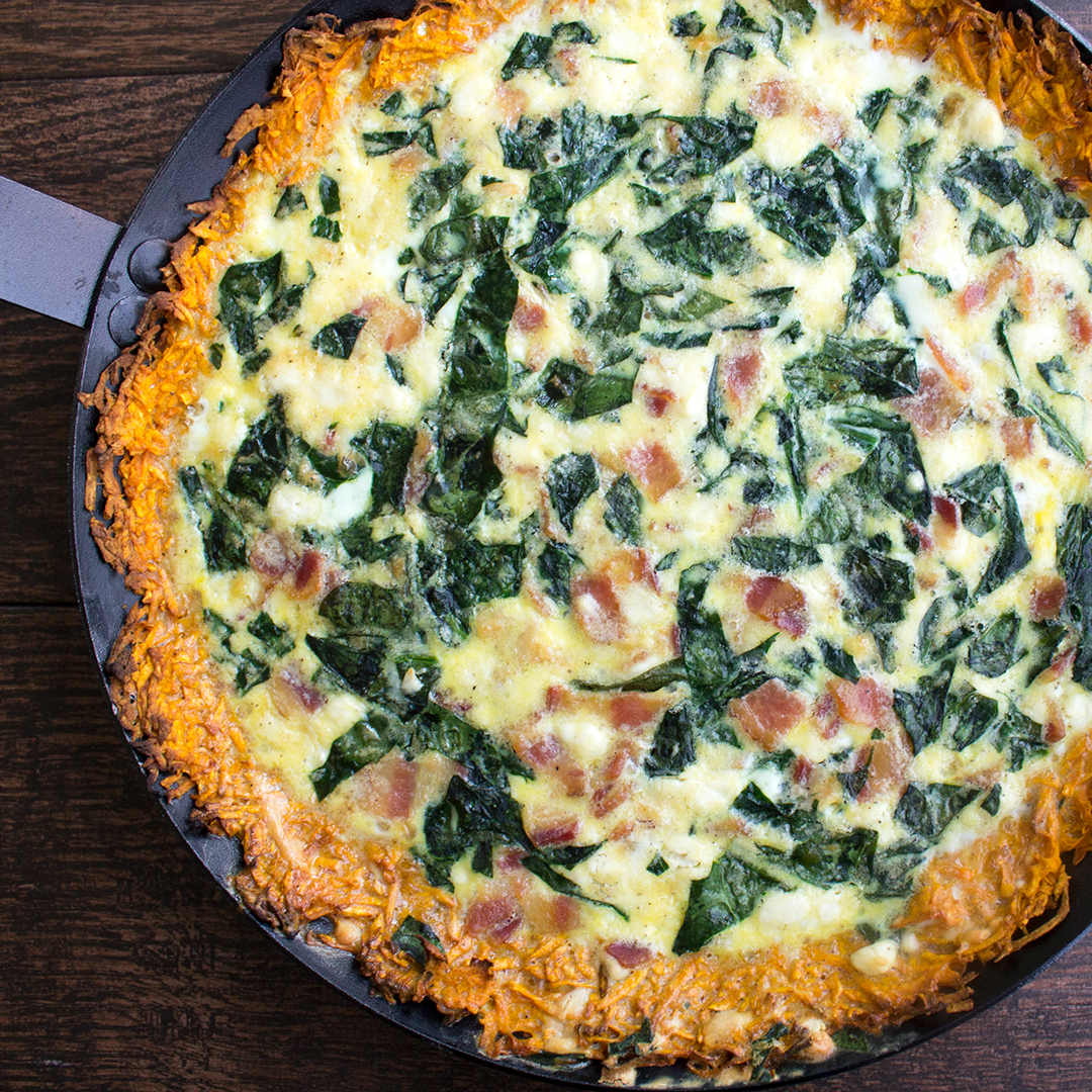 Spinach and Bacon Quiche with Sweet Potato Crust is a deliciously filling breakfast that'll have ev