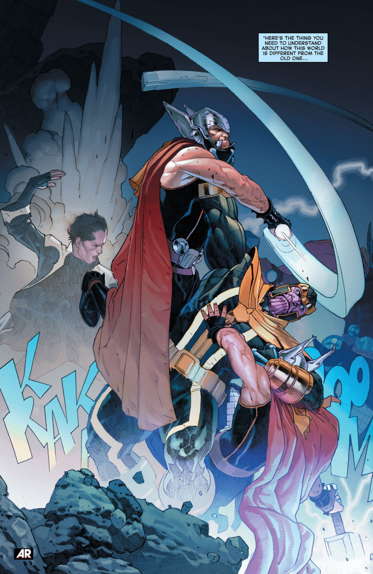 secret wars interior art feat. thanos staving-off two would-be thors
