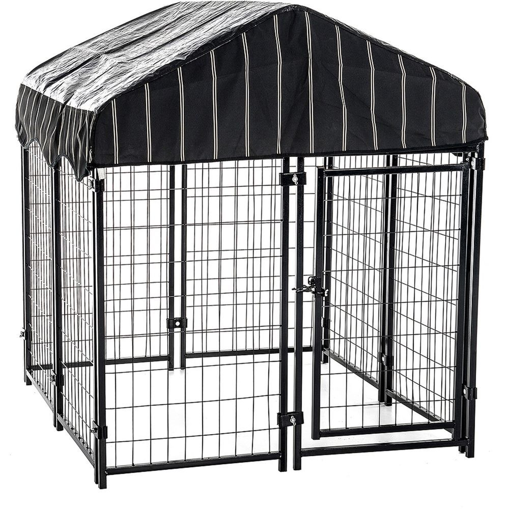 Dog Pet Kennel w/Cover Extra Large Dogs Cage Pen Run Puppies Crate Canine  Secure