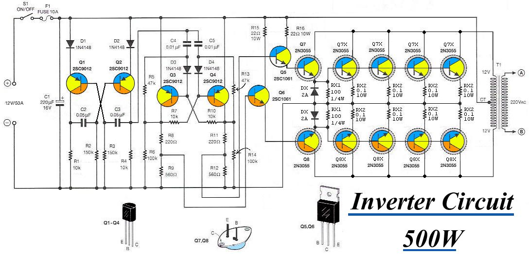 500w inverter circuit diagram 500w image wiring inverter 12vdc to 220v 50hz 500w electronics on 500w inverter circuit diagram