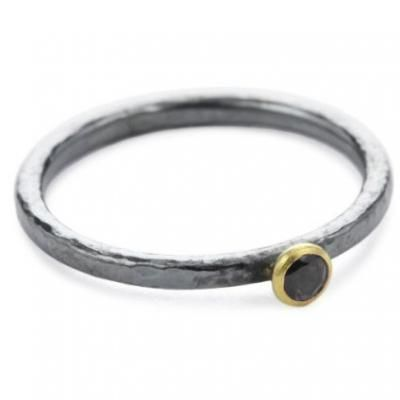 Sterling Silver Layered with Blackened Silver and 24K Gold Skittle Ring with Black Diamond by GURHAN