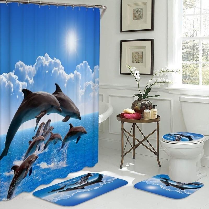 Ocean View Dolphins Shower Curtain Set Beach Theme Shower