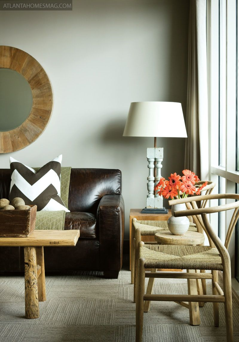 Smooth Dark Brown Leather Couch Blond Wood Table And