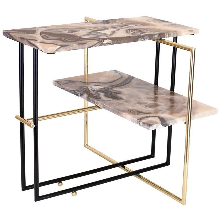 Marble And Gold Margaux Laptop Table: Mexican Onyx Stone And Brass UÑA Side Coffee Table Design