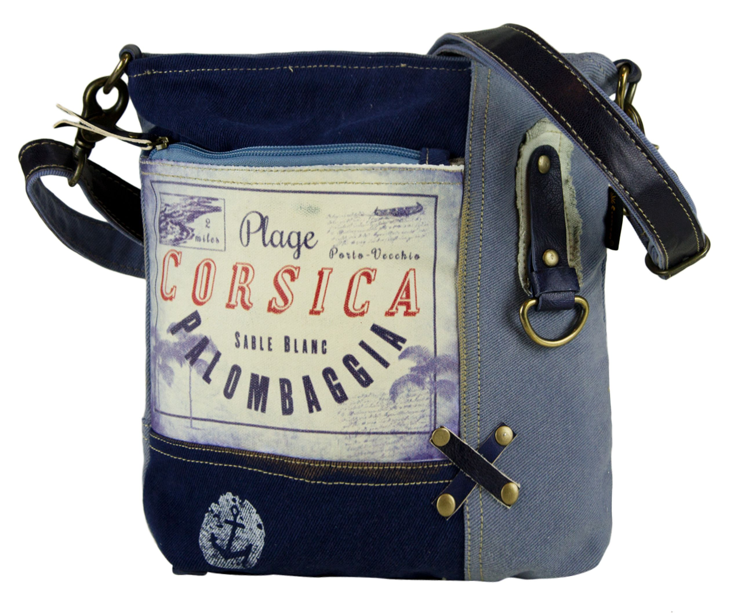 ef6a6d6946652 Taschen   Geldbeutel. Kleine Sunsa Umhängetasche in schönen blau tönen mit  tollem Corsica Aufdruck.