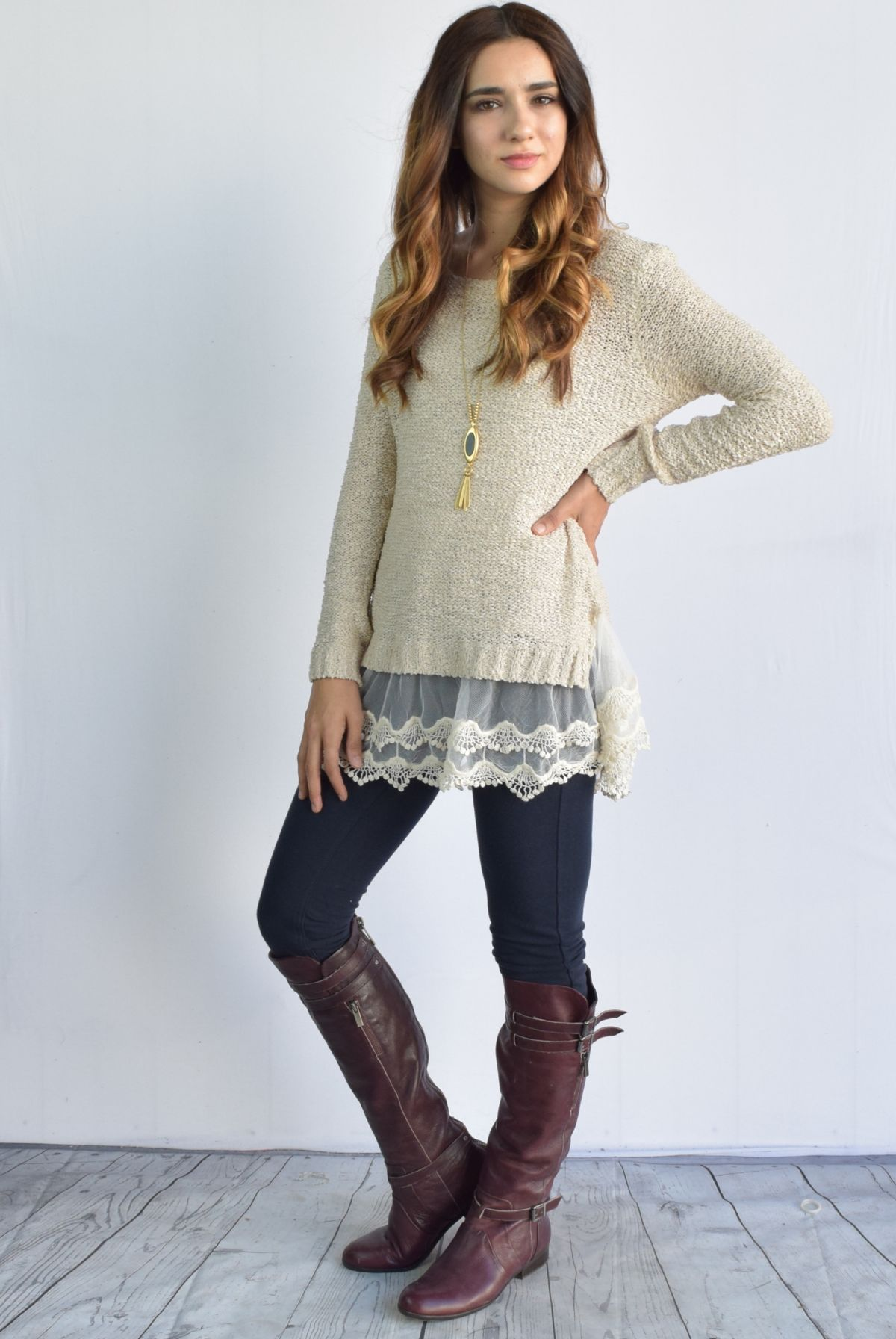 Crochet Trimmed Sweater Tunic - 2 Colors! - Photo 4