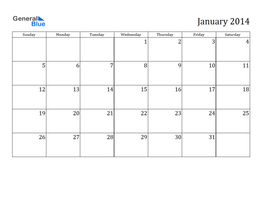 2014 Calendar January 2014 Calendar Pdf Excel Word From