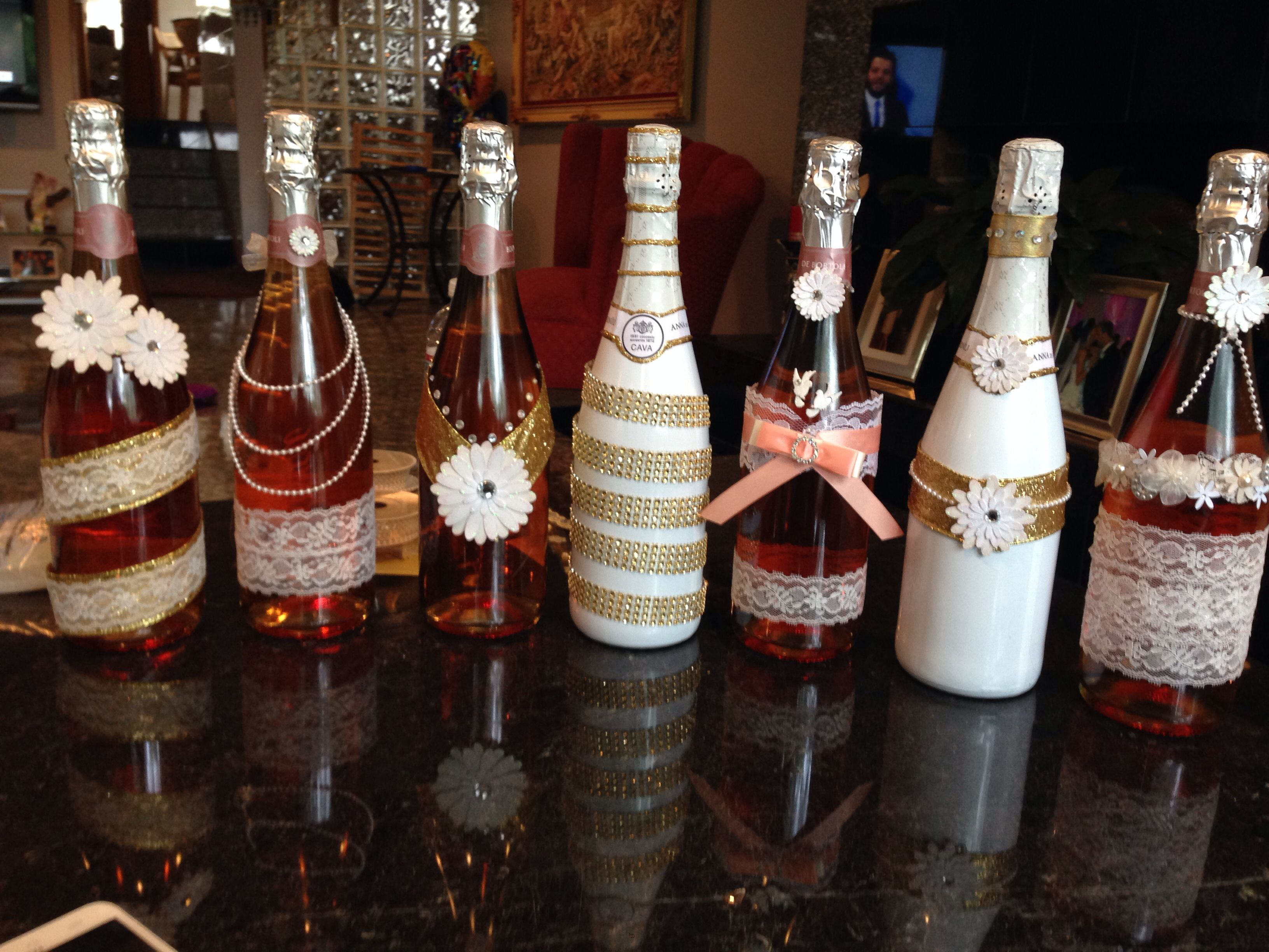 Decorative Wine Bottles  Made These For My Cousins Bridal Shower  Part Of  The Center