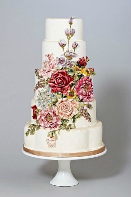 Hand Painted Wedding Cakes Via Intimate Weddings Perfect