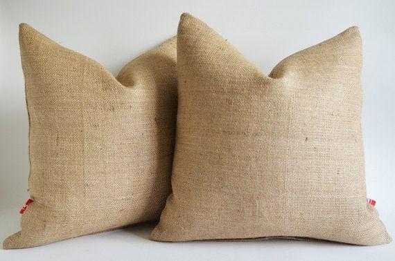 Sukan 1 Burlap Pillow Cover Natural Decorative By Sukanart 27 50 Burlap Pillows Burlap Throw Pillows Pillows