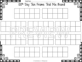 Hip! Hip! Hooray! It is the 100th Day! Ten Frame Trail Mix Board