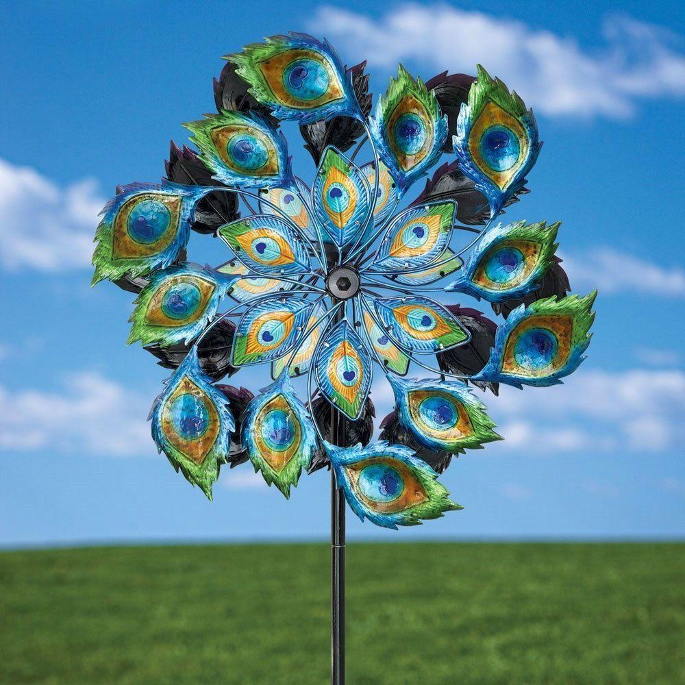 Peacock Solar Multi Color Wind Spinner Outdoor Lawn Garden Decor