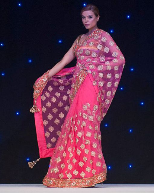 Pink and gold #saree by #ManishMalhotra
