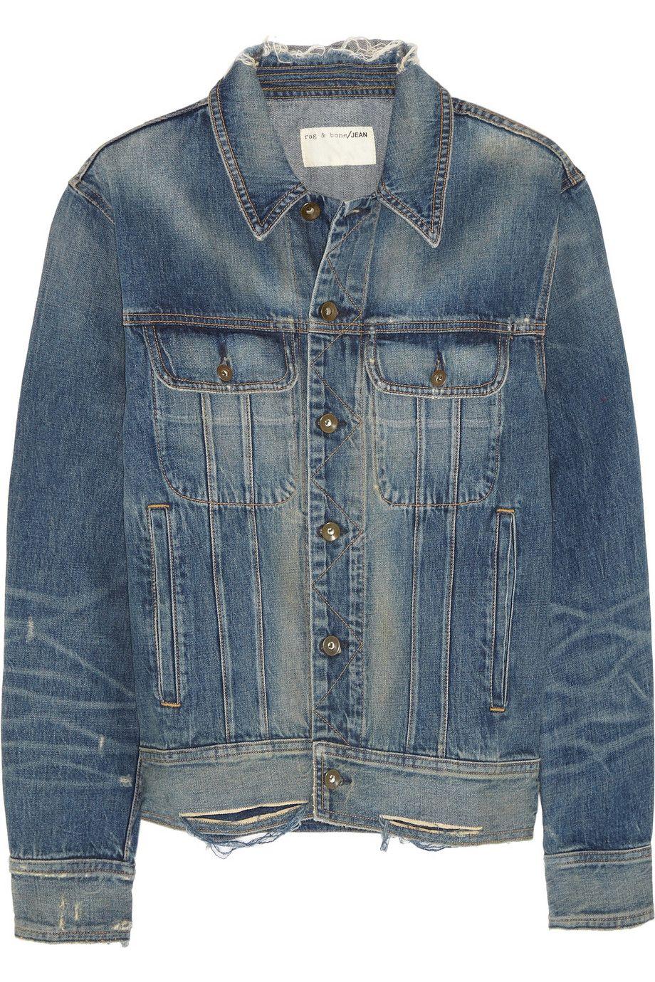 Rag Bone Boyfriend Distressed Denim Jacket Net A Porter Com Distressed Denim Jacket Distressed Denim Petite Denim Jacket