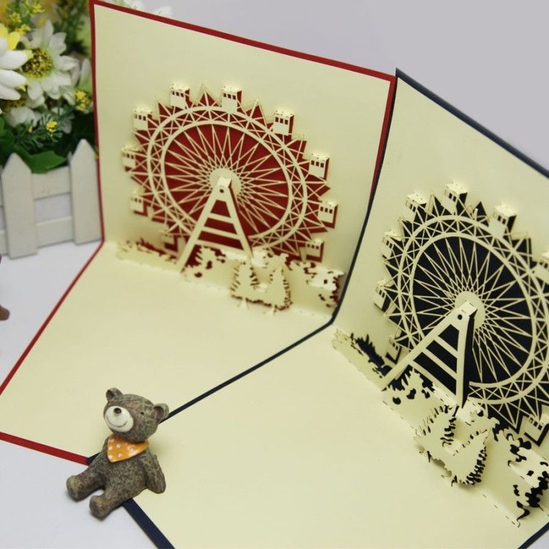 2014 new year romantic valentine ferris wheel laser cut cards invitations 3d pop paper art cute gift cardswith envelope ingreeting cards fro
