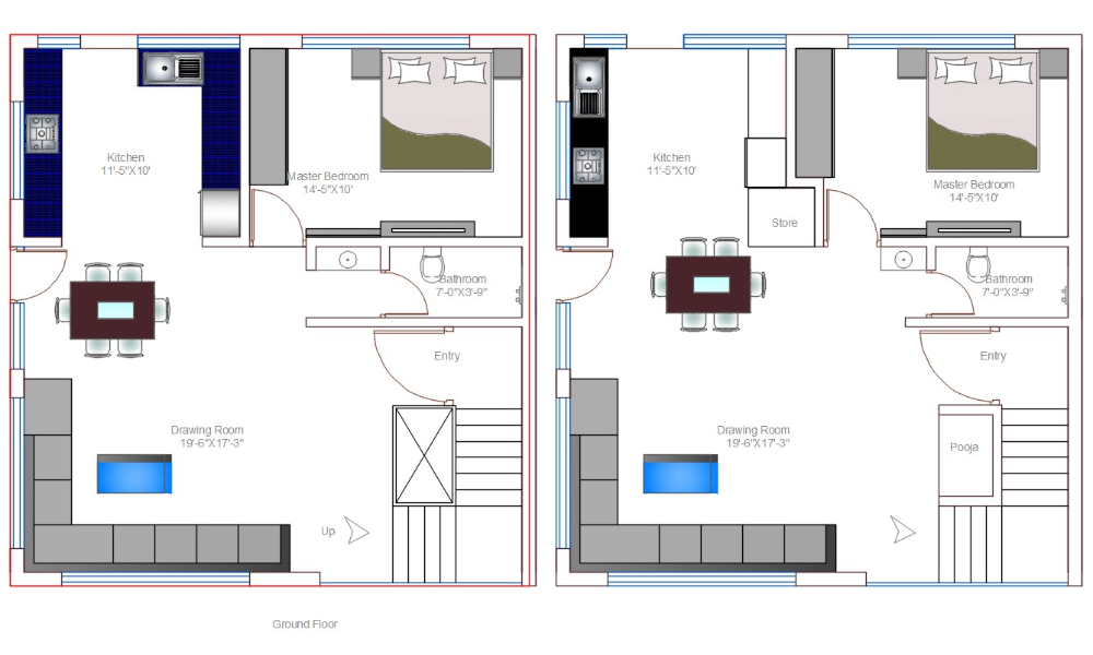 1 Bhk Spacious House Plan With 2 Different Options Autocad File Cadbull In 2020 House Plans Modern House Plan How To Plan
