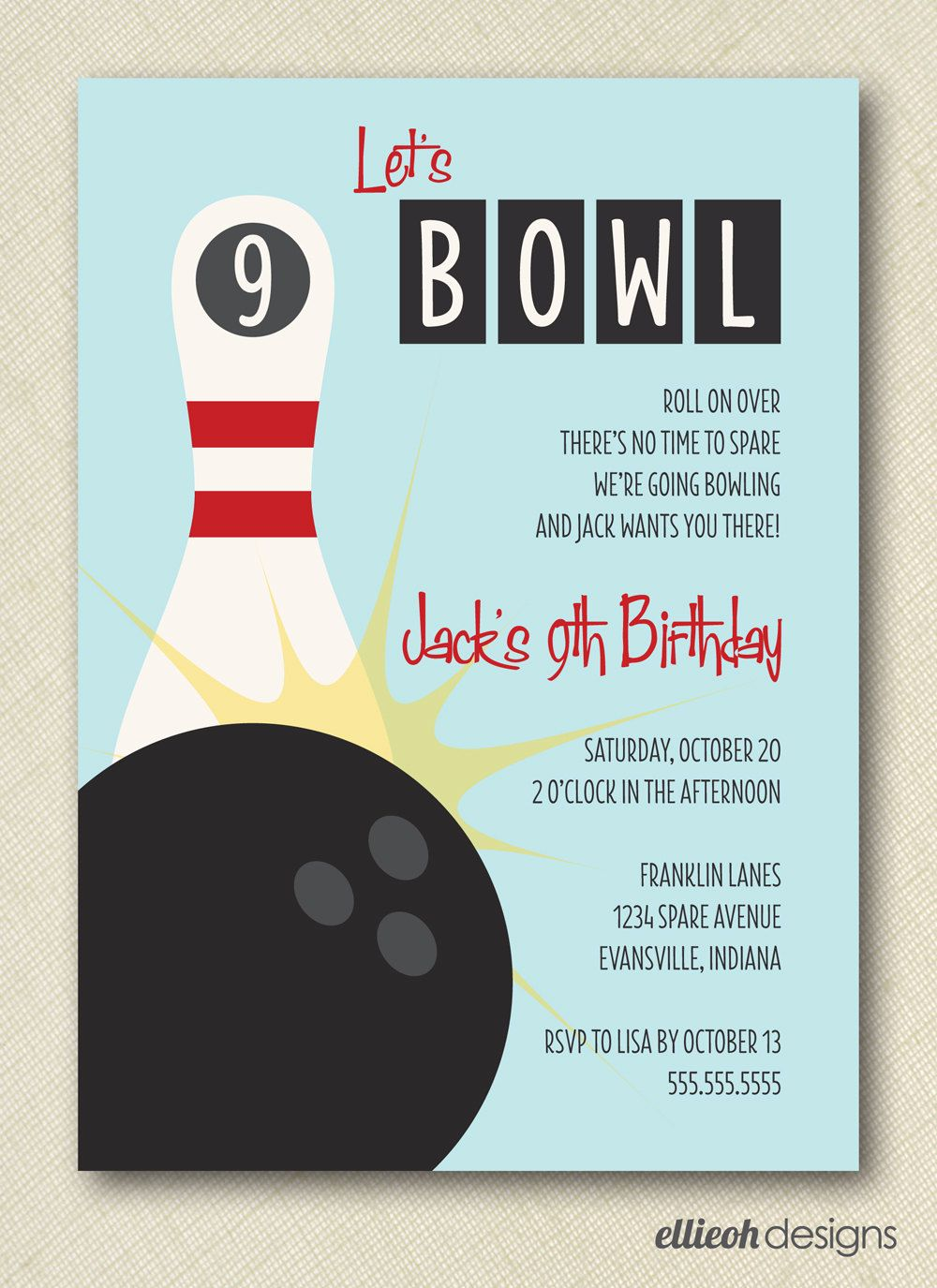 bowling birthday party invite PRINTABLE 5x7 digital file 1500