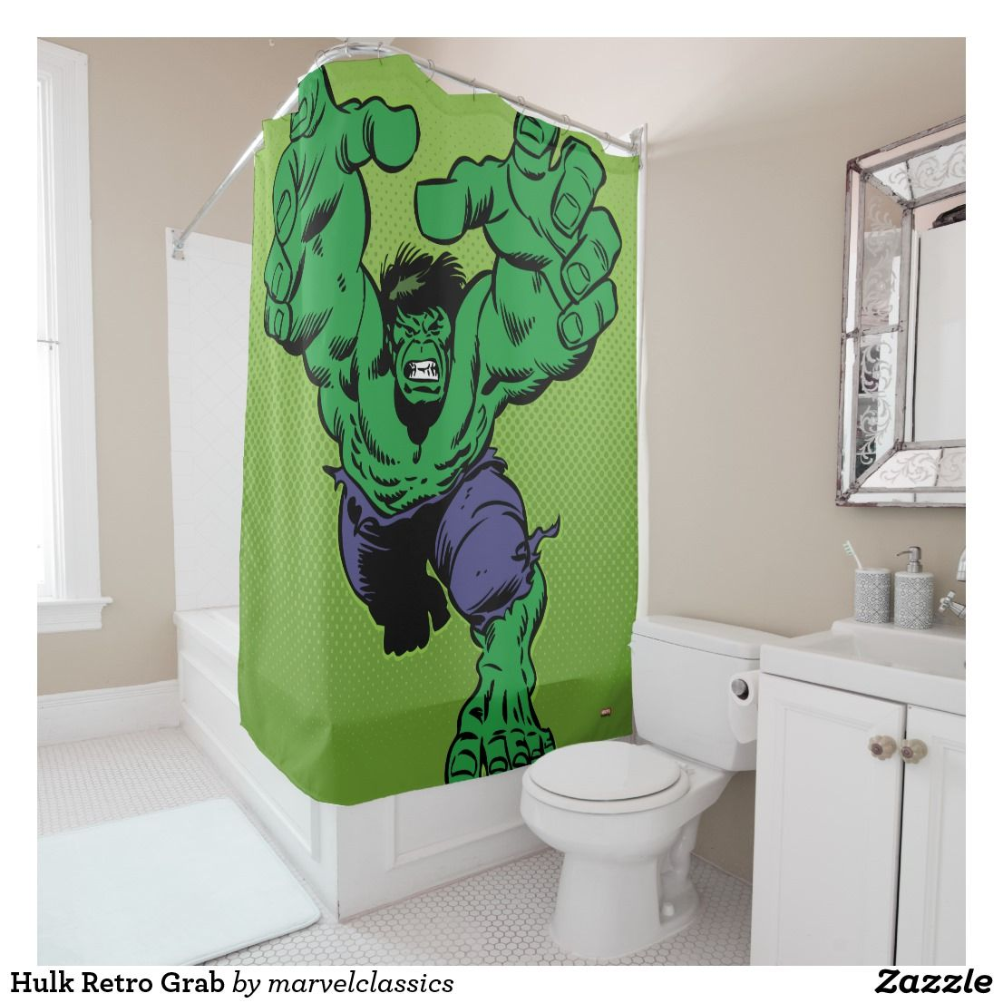 Hulk Retro Grab Shower Curtain