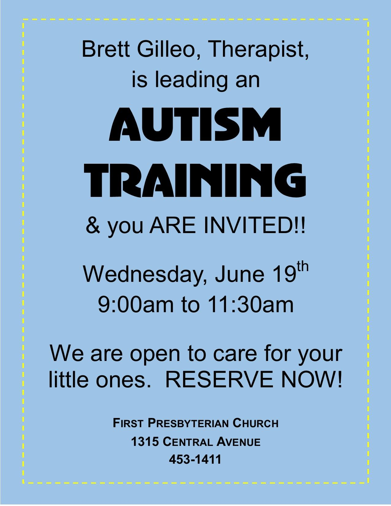 Autism Training offered by the Peace Place
