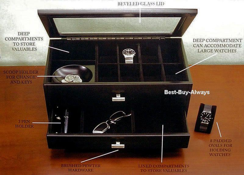 Men Wood Valet Box Man Jewelry Storage Chest Wooden Espresso Case