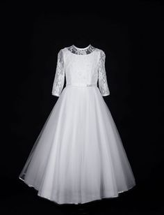 6f992297887 Sophisticated First Communion Dress - Long Sleeve Beaded Lace with  Fairytale Tulle Skirt - Juliette - Isabella Collection - Girls Communion  Dress