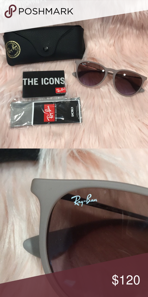 efe84ffdaea0a NWT - Ray Ban - Erika Sunglasses NWT - Ray Ban - Erika Sunglasses Dark  Rubber