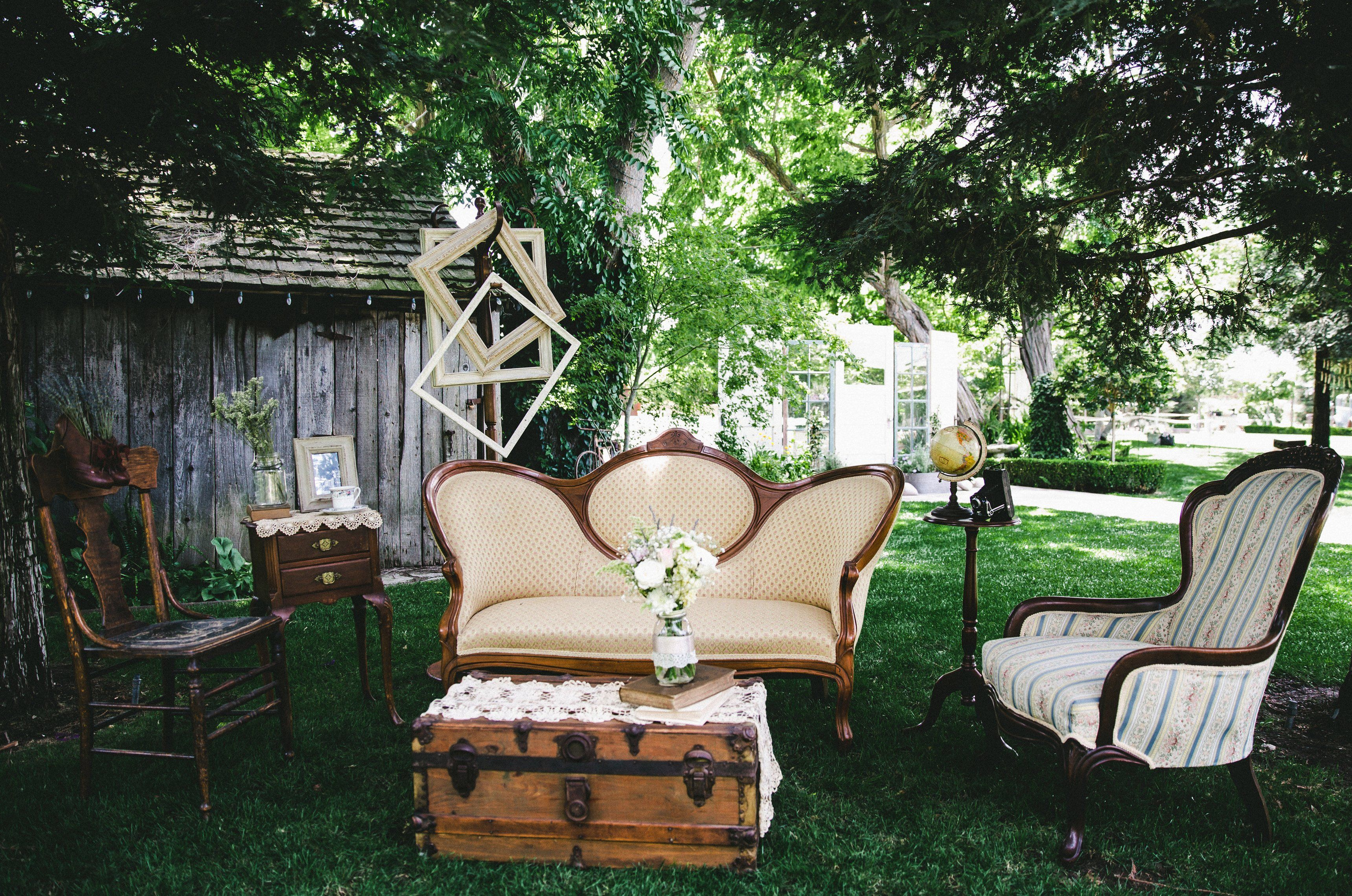 Wedding doors for rent - Vintage Photo Booth Spot Antique Victorian Settee Parlor Chair Old Steamer Trunk Side Table And Vintage Frames Rent These Items From American