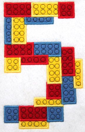 Block Number Five Applique Embroidery Design - Other numbers, too ...