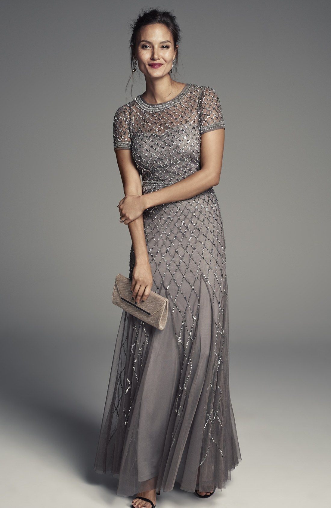 Free Shipping And Returns On Adrianna Papell Beaded Mesh Gown Regular Amp Peti Mother Of The Bride Dresses Long Mother Of Bride Outfits Mother Wedding Dress