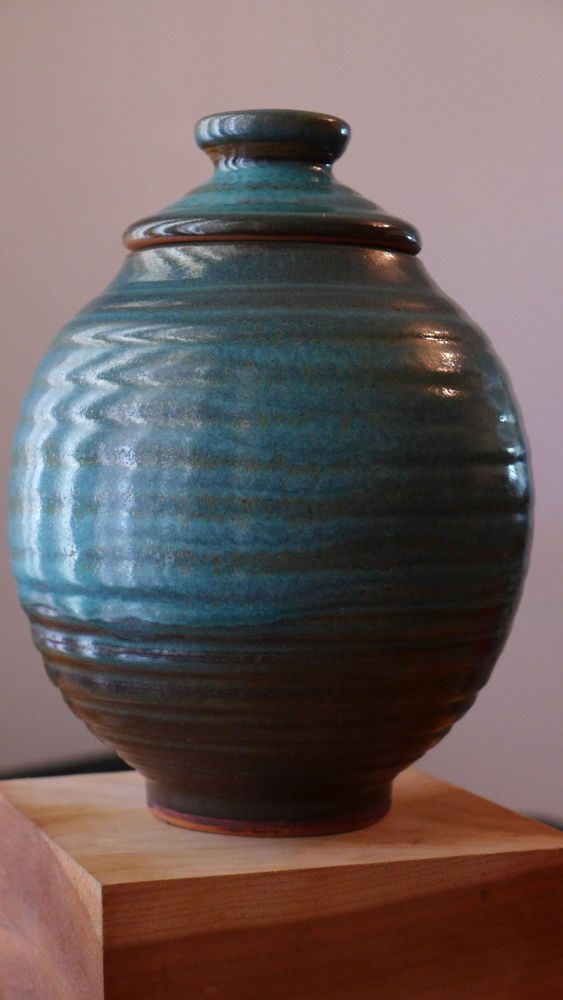Harding Black 1964 Ceramic Lidded Urn Or Vase Teal Blue Texas Studio