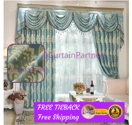 Blackout Majestic Blue Drapes Curtains With Eyelet Pleat For More
