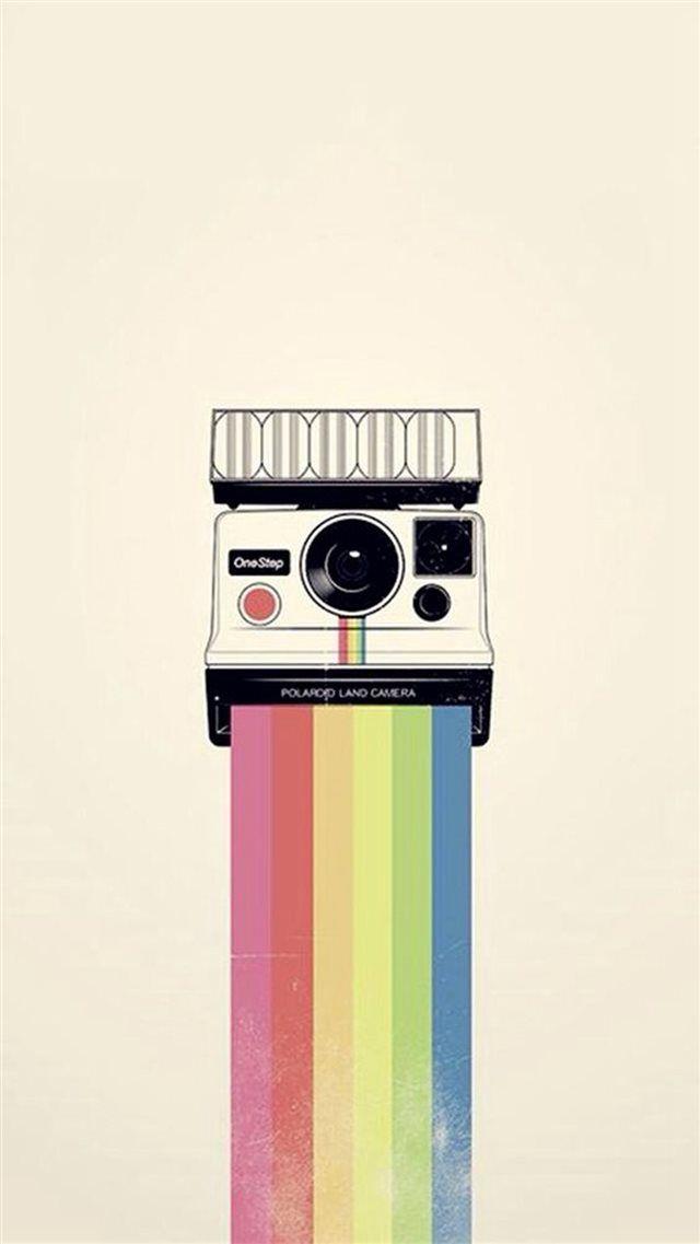 Polaroid Camera Colorful Rainbow Illustration iPhone 8 Wallpapers