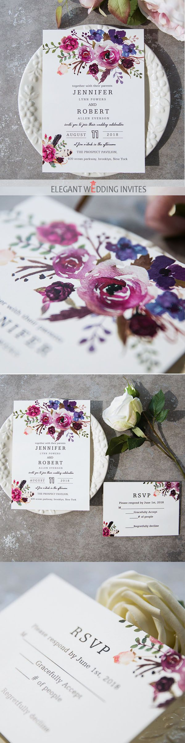 vintage country garden wedding invitations%0A as low as       spring magenta shades of purple wedding invitations  weddinginvitations ElegantWeddingInvites