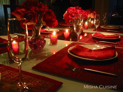 Red Tablescape Design. Red Poinsettias In Lit Wine Goblets Would Be Perfect  For A Christmas