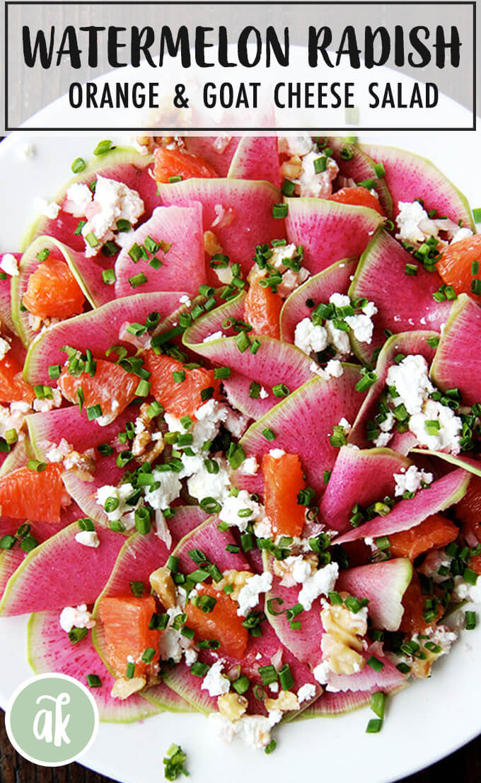 Watermelon radishes are stunning This beautiful salad is a mix of paperthin slices of watermelon radishes Cara Cara oranges  so sweet and pretty  toasted walnuts and goat...