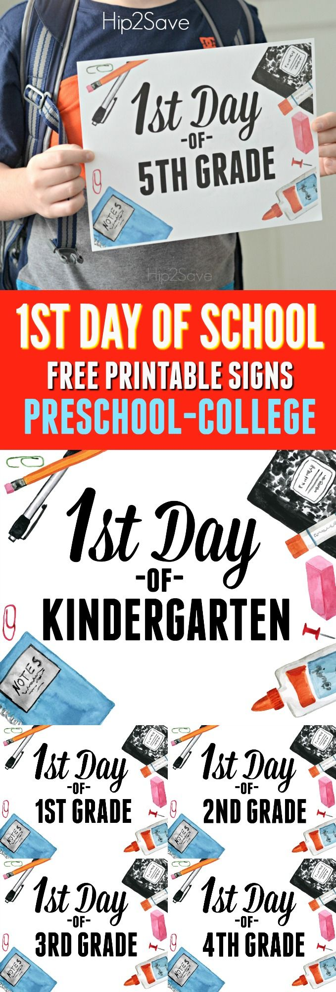 FREE First Day of School Printable Signs #firstdayofschoolsign
